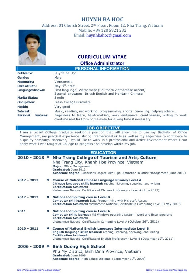 cv resume sle for fresh graduate of office administration