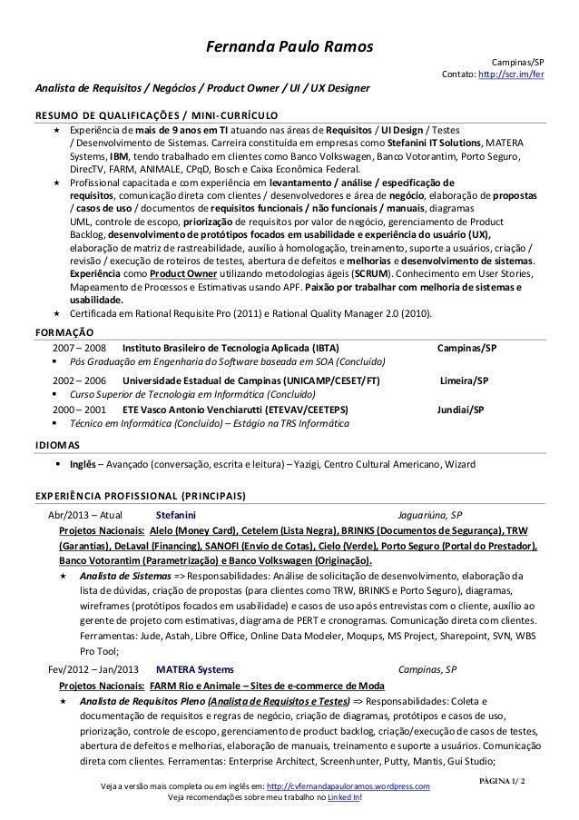 Currículo Resumido - Fernanda Paulo Ramos - Nov/2013
