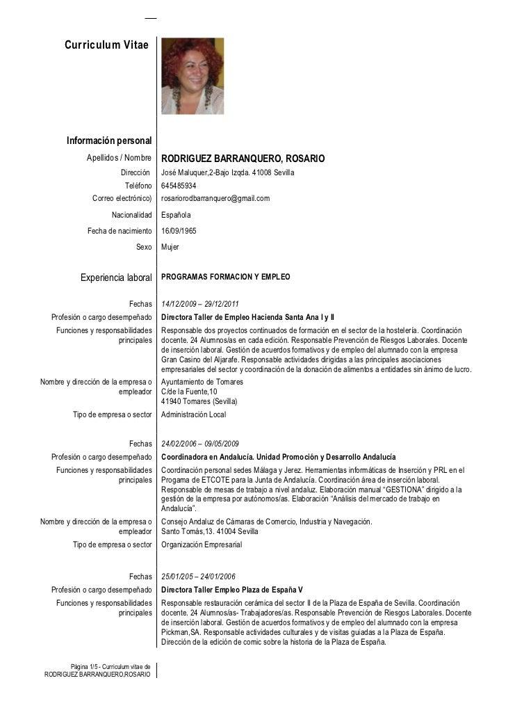 Curriculum Vitae         Información personal                Apellidos / Nombre         RODRIGUEZ BARRANQUERO, ROSARIO    ...