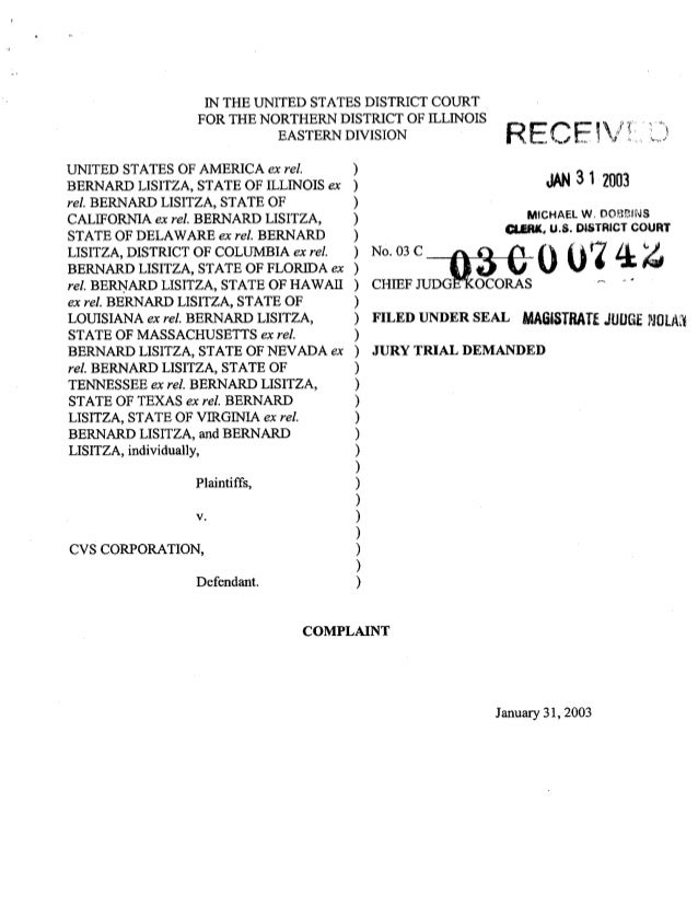 Complaint From the Qui Tam Lawsuit Against CVS