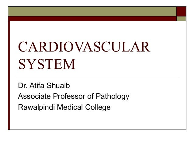 CARDIOVASCULARSYSTEMDr. Atifa ShuaibAssociate Professor of PathologyRawalpindi Medical College