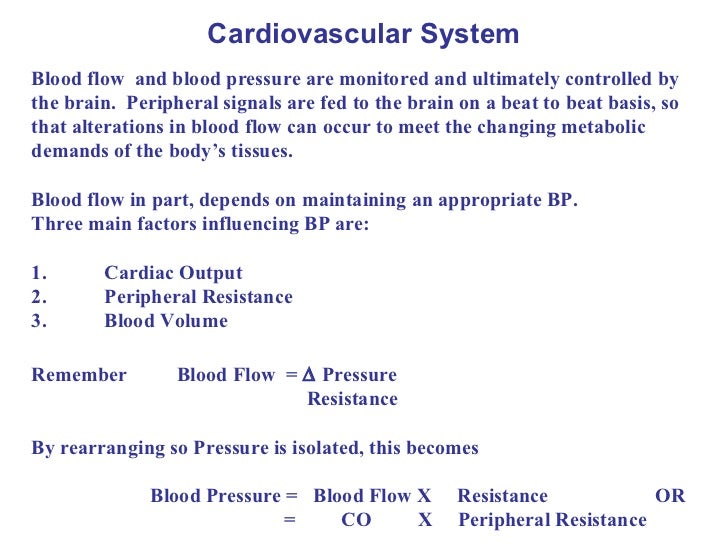 Cardiovascular System Blood flow  and blood pressure are monitored and ultimately controlled by the brain.  Peripheral sig...