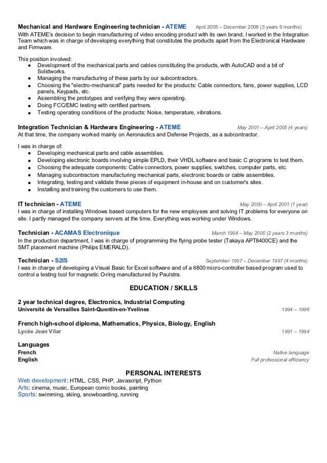 Sample Resume Engineering Technical Skills Resume Sle System BizDoska Com  Hardware Engineer Resume