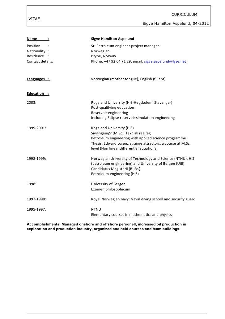 CURRICULUM VITAE                                                               Sigve Hamilton Aspelund, 04-2012Name       ...