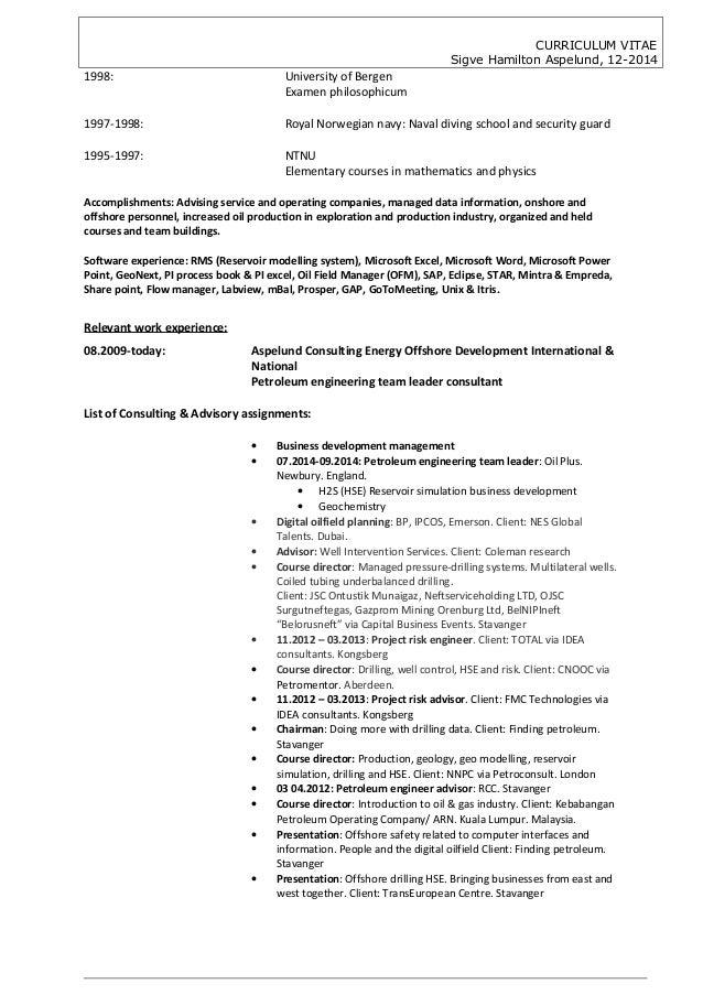cv sigve hamilton aspelund 122014 petroleum engineering