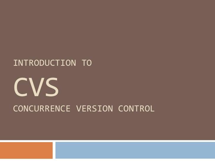 introduction to CVS
