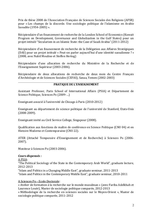 cv stephane lacroix sciences po