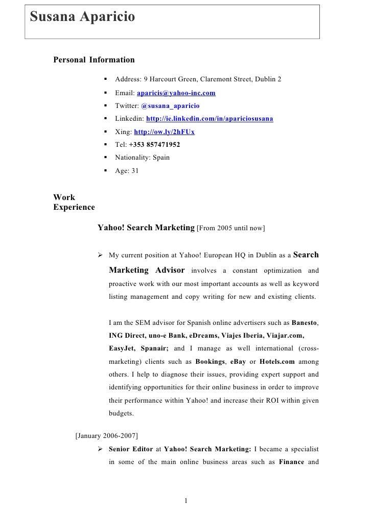 Susana Aparicio    Susana Aparicio       Personal Information                            Address: 9 Harcourt Green, Clare...