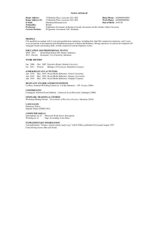 Contoh Curriculum Vitae Lengkap Bahasa Inggris Akpar
