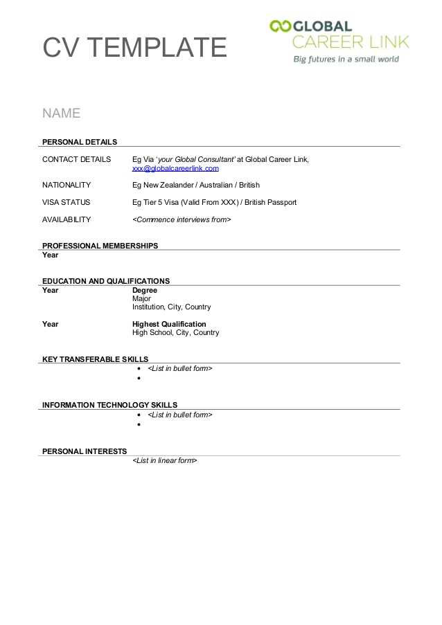 Empty Resume Template – Blank Resume