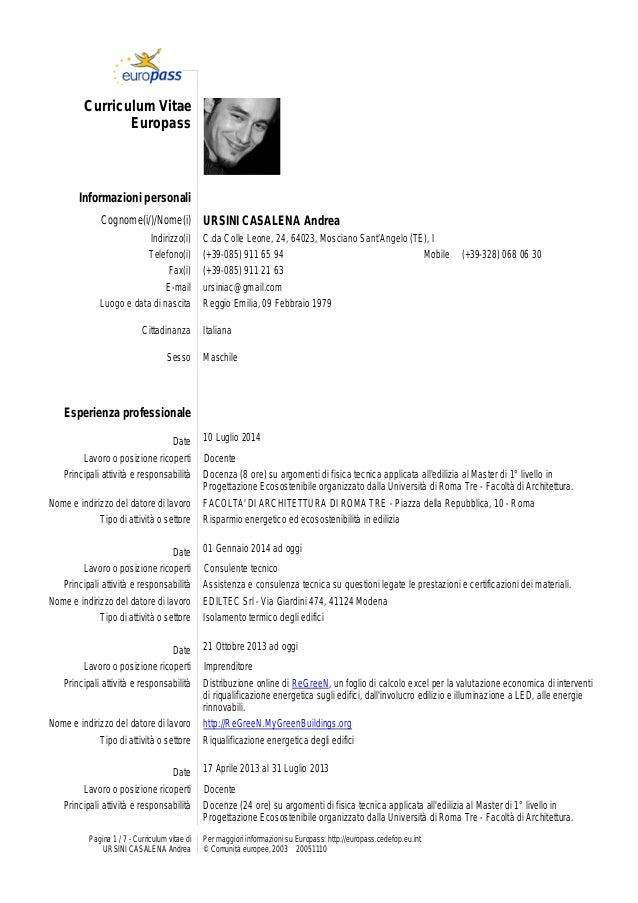 curriculum vitae europeo da compilare download