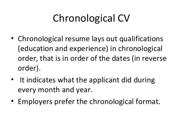 Resume Sample Chronological Order