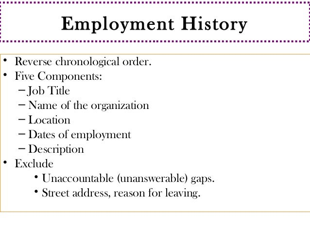 Employment history in resume