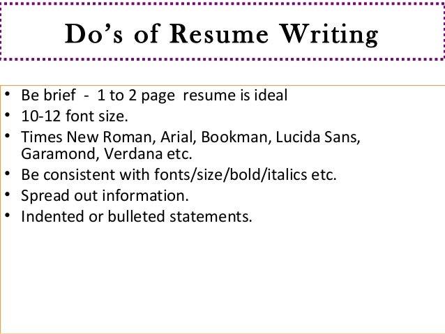 Font ...  Best Resume Font Size