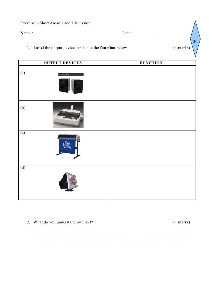 Output devices in class worksheet hard