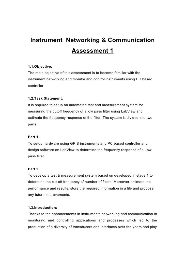 Instrument Networking & Communication                            Assessment 1  1.1.Objective: The main objective of this a...