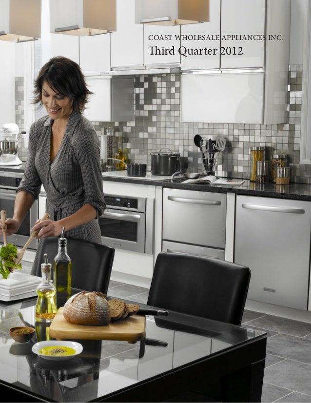 Coast Wholesale Appliances Third Quarter Report