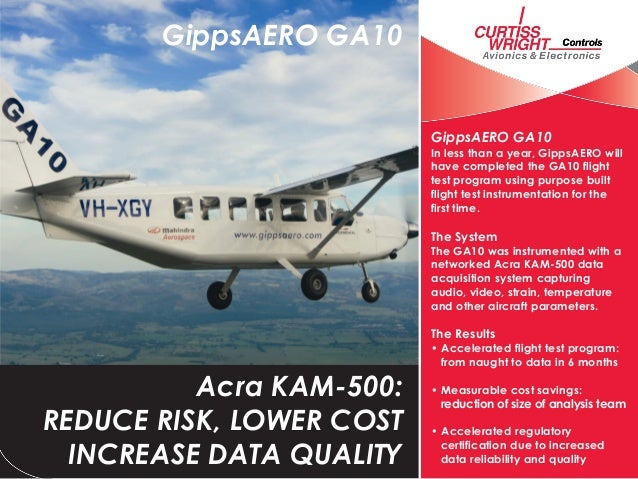 GippsAERO lowers risk and reduces time to certification for GA10 using Acra KAM-500 data acquisition system