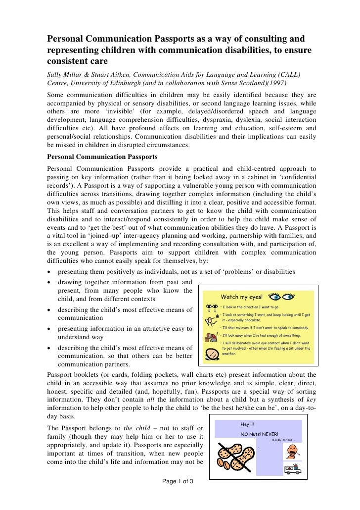 Personal Communication Passports as a way of consulting and representing children with communication disabilities, to ensu...