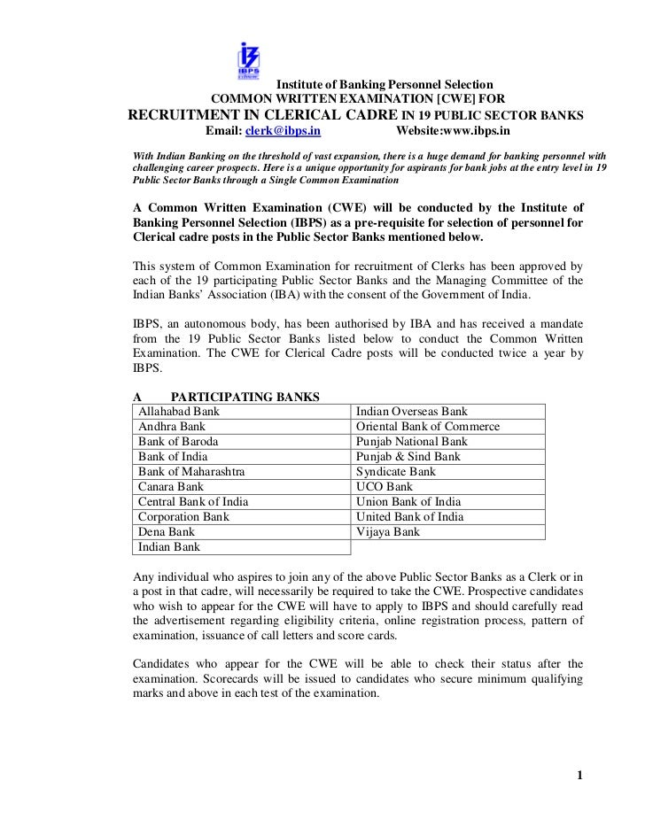 Institute of Banking Personnel Selection         COMMON WRITTEN EXAMINATION [CWE] FORRECRUITMENT IN CLERICAL CADRE IN 19 P...