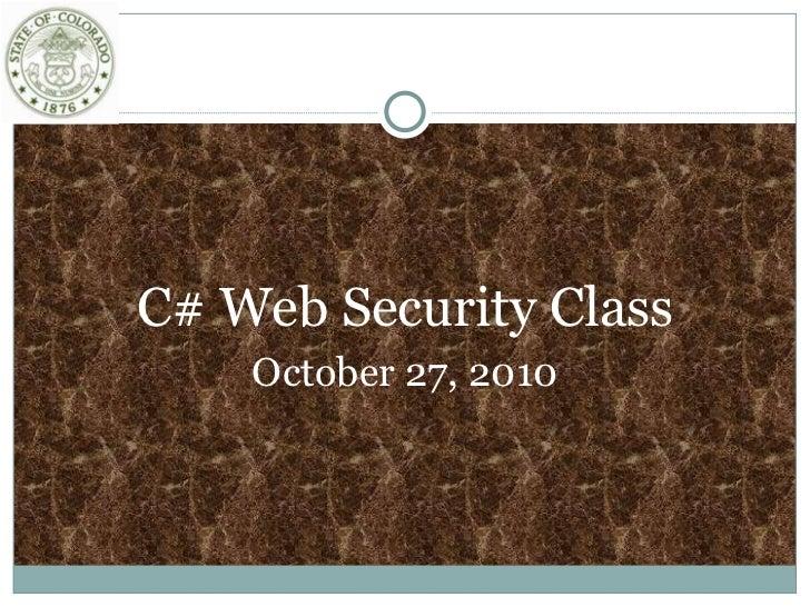 C#Web Sec Oct27 2010 Final