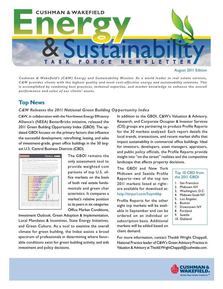 Cushman Wakefield Energy Sustainability Taskforce Newsletter August 2011