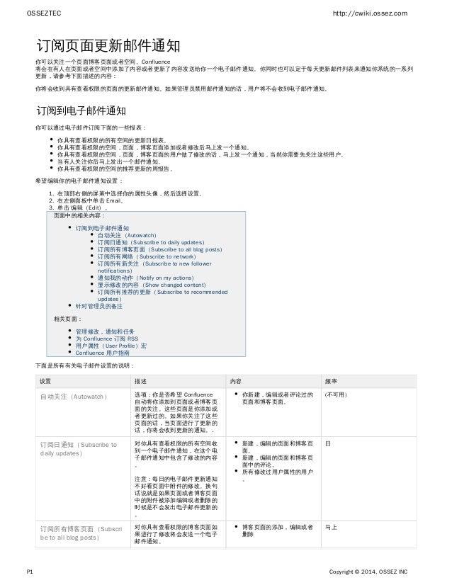 OSSEZTEC http://cwiki.ossez.com P1 Copyright © 2014, OSSEZ INC 1. 2. 3. 订阅页面更新邮件通知 你可以关注一个页面博客页面或者空间。Confluence 将会在有人在页面或者...
