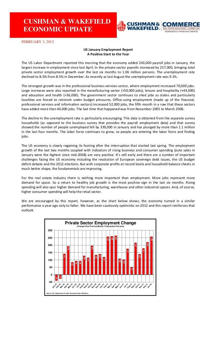 CUSHMAN & WAKEFIELD             ECONOMIC UPDATE         FEBRUARY 3, 2012                                                 ...