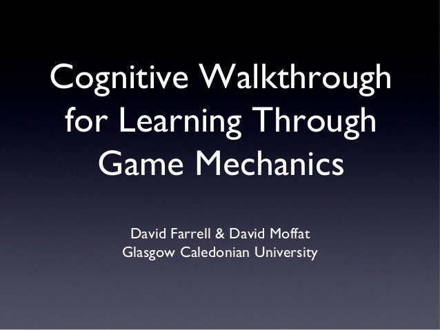 Cognitive Walkthrough for Learning Through Game Mechanics at ECGBL13
