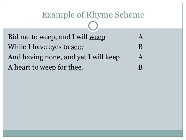 what is a rhyme scheme example