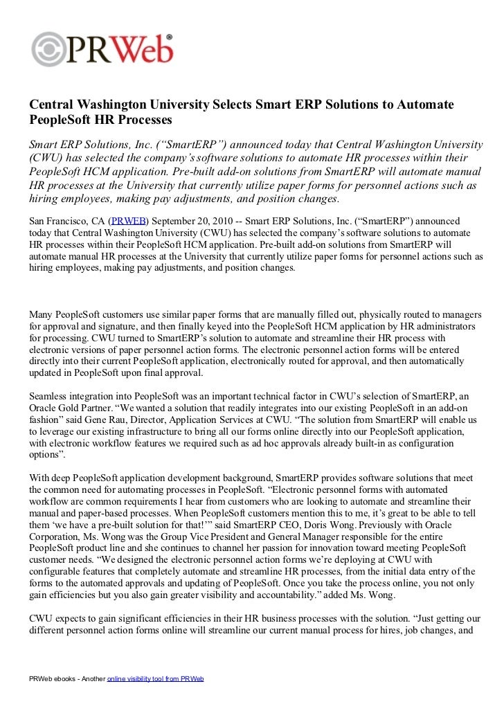 Press Release - CWU Selects SmartERP to Automate HR Processes 2010 09-20
