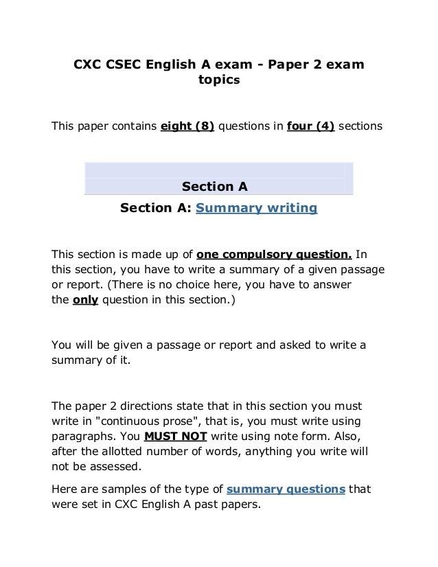 Cxc csec english a exam