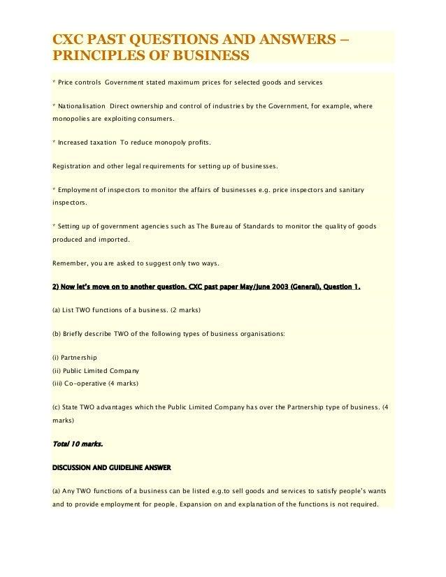 Csec Past Paper Principles Of Business PDF Download