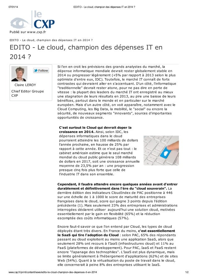Cxp le cloud-champion-des-depenses-it-en-2014