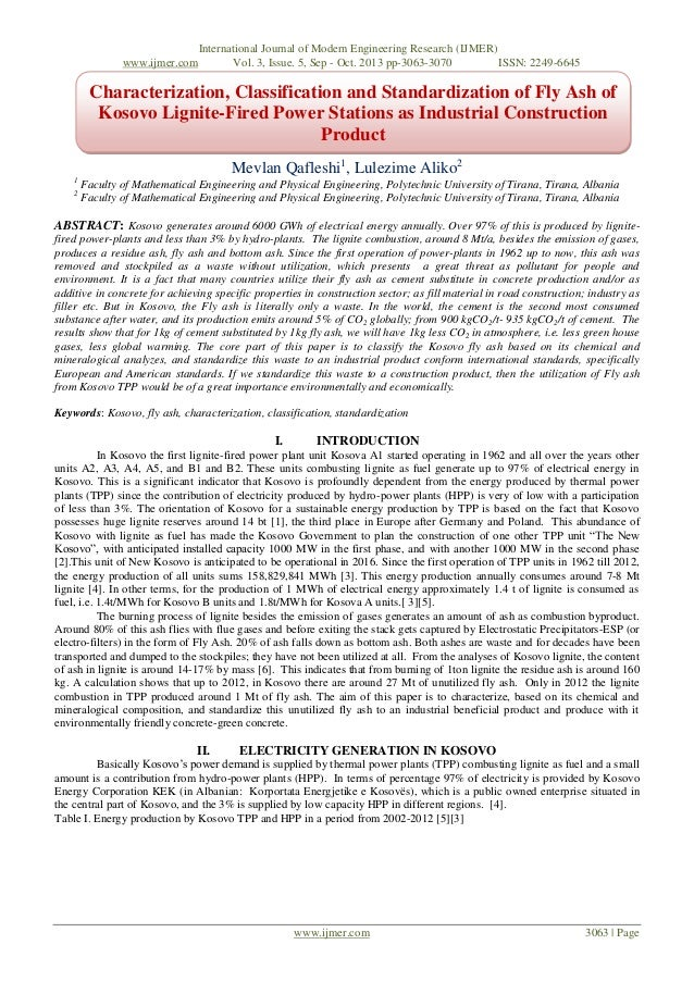 Characterization, Classification and Standardization of Fly Ash of Kosovo Lignite-Fired Power Stations as Industrial Construction Product