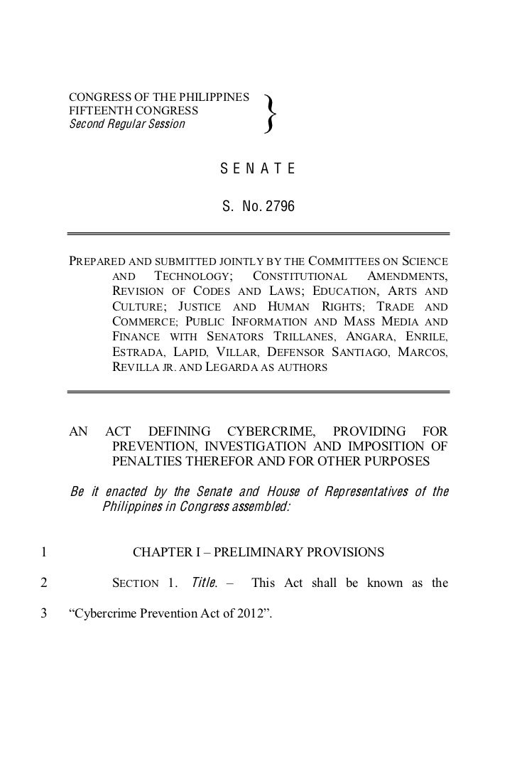 The Philippine Cybercrime Prevention Act of 2012
