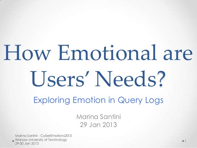 How Emotional are  Users' Needs?            Exploring Emotion in Query Logs                                      Marina Sa...