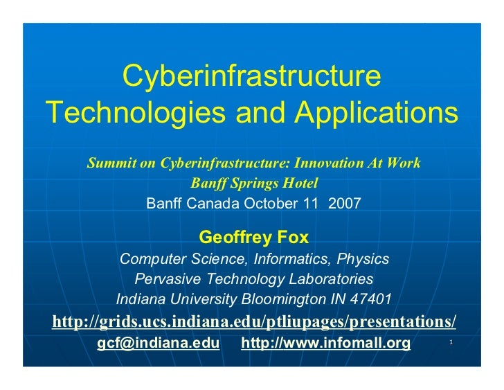 Cyberinfrastructure Technologies and Applications     Summit on Cyberinfrastructure: Innovation At Work                   ...