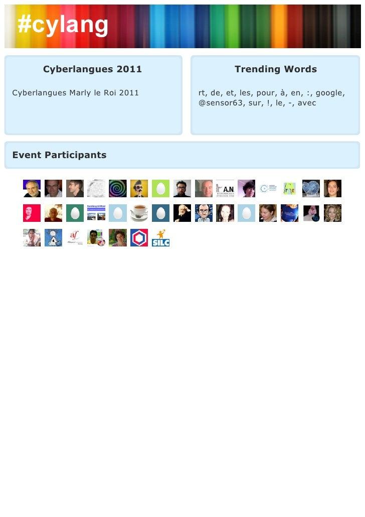 #cylang       Cyberlangues 2011                  Trending WordsCyberlangues Marly le Roi 2011   rt, de, et, les, pour, à, ...
