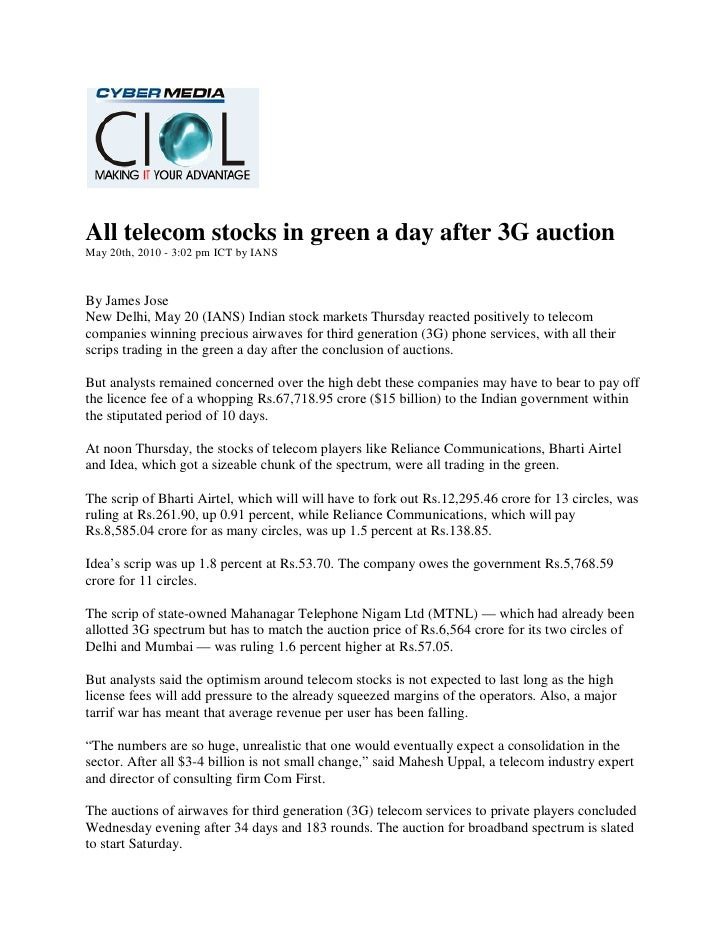 Cybermedia CIOL_20 May 2010_All telecom stocks in green a day after 3G auction