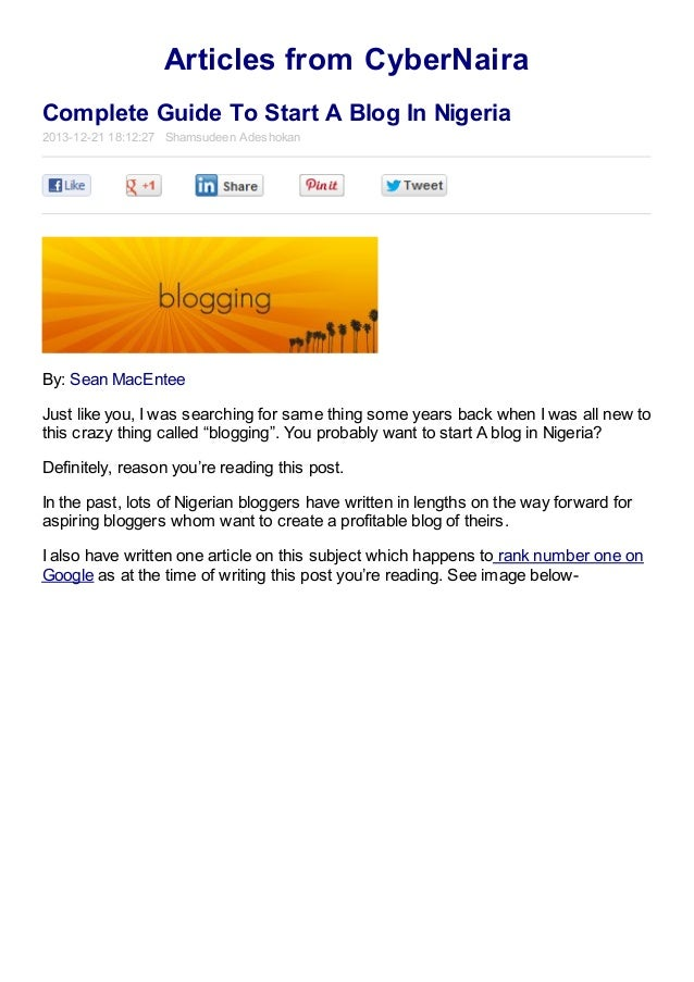 complete guide to start a blog in nigeria