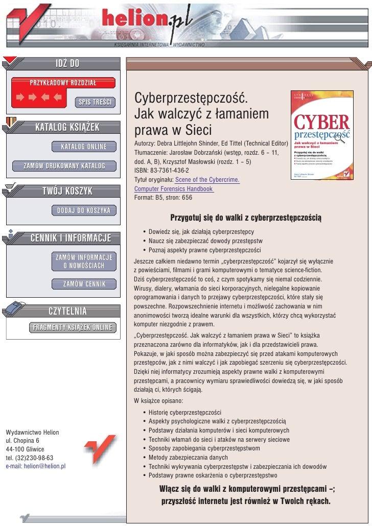 IDZ DO          PRZYK£ADOWY ROZDZIA£                             SPIS TRE CI   Cyberprzestêpczo æ.                        ...