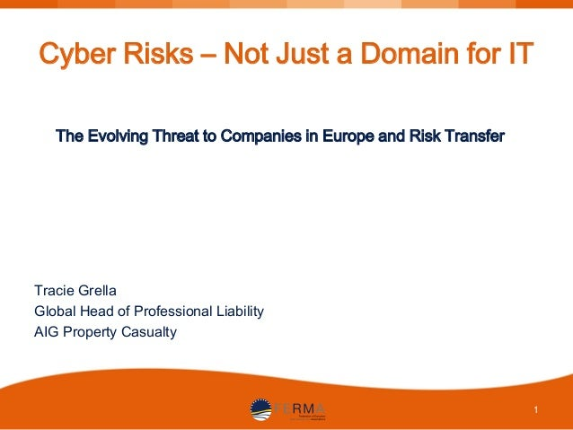 Cyber Risks – Not Just a Domain for IT The Evolving Threat to Companies in Europe and Risk Transfer  Tracie Grella Global ...