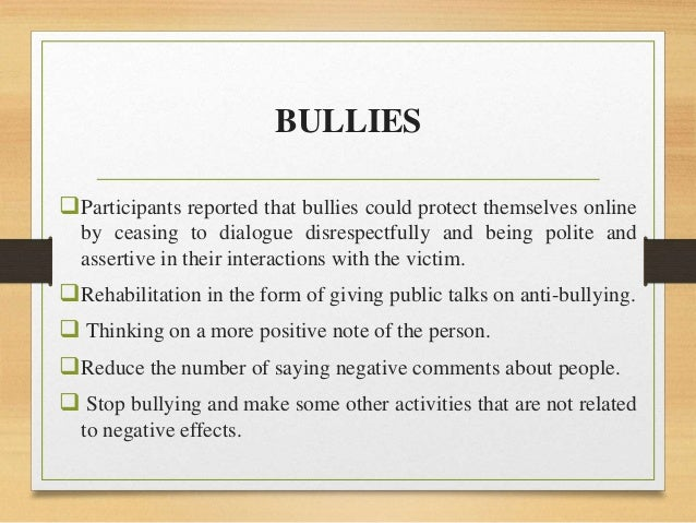 detrimental effects of cyber bullying Effects of cyber bullying, harassment and stalking the effects of cyber-bullying, cyber-harassment and cyber-stalking are catastrophically severe to an abuser's victim.