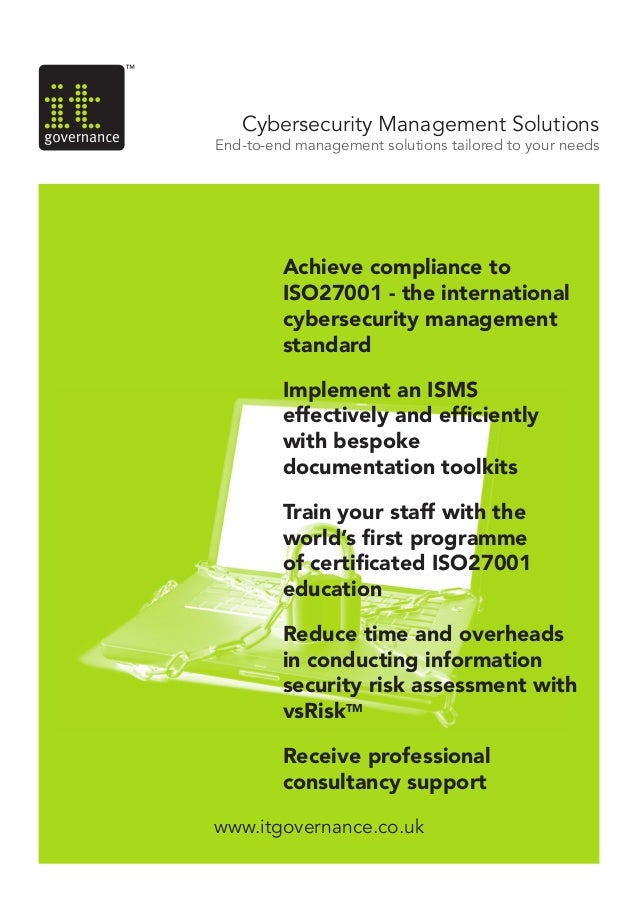 www.itgovernance.co.ukCybersecurity Management SolutionsEnd-to-end management solutions tailored to your needsAchieve comp...