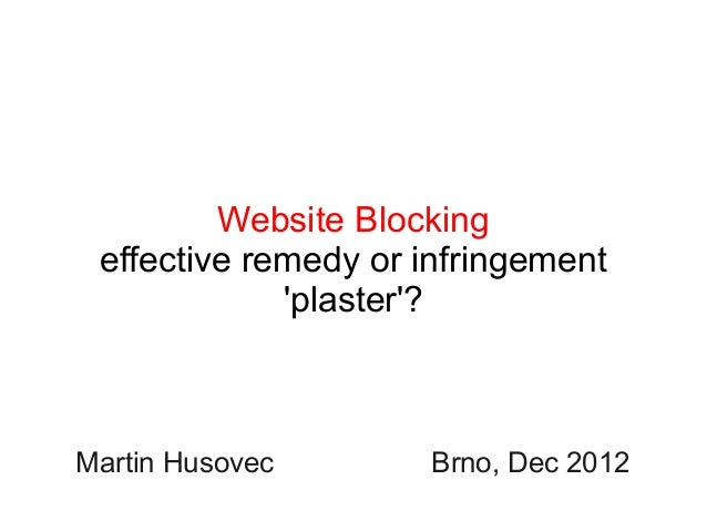 Website Blocking: effective remedy or infringement 'plaster'?