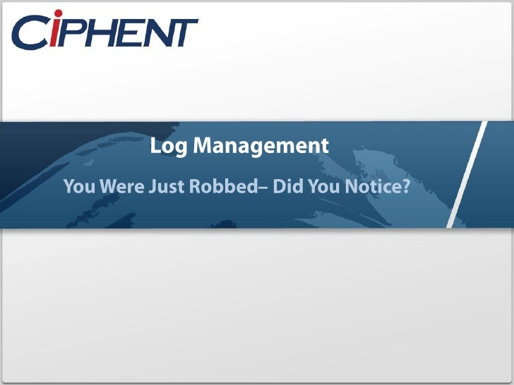 Cyber Thursday Webinar Log Management