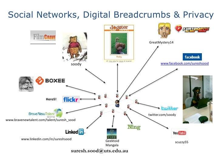 Social Networks, Digital Breadcrumbs & Privacy <br />GreatMystery14<br />www.facebook.com/sureshsood<br />soody<br />ssood...