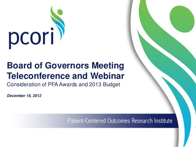 Board of Governors Meeting Teleconference and Webinar