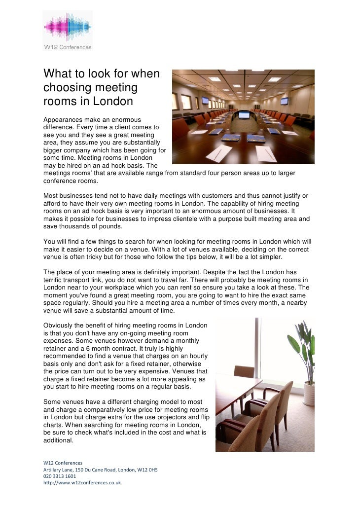 Why hire meeting rooms in london?